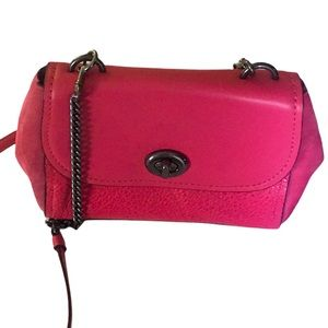 COACH Hot Pink FAYE Leather Adjus Crossbody Suede & Leather Excellent Condition